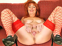 Mature Slut in Red Fishnets