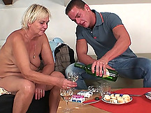 His sensual mature blonde lover is actually his mother in law and he loves her pussy