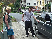 A sexy blonde granny is giving him head and bending over to be taken from behind