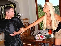 Slutty blonde in dress boned