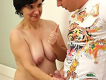 His mother in law has heard that his dick is big and she wants to get a taste of the action